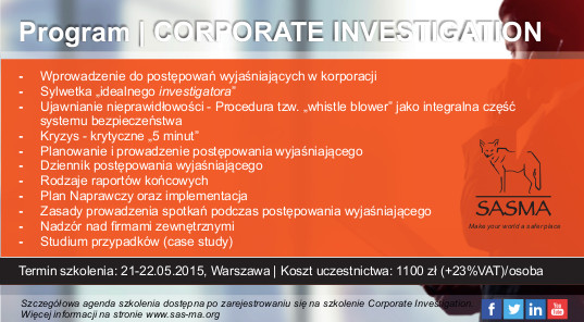 Kurs CORPORATE INVESTIGATION