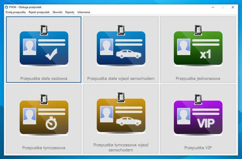 Oprogramowanie kontroli dostępu - obsługa przepustek PWSK