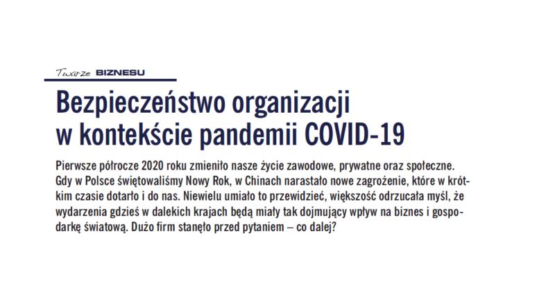 Bezpieczeństwo organizacji w kontekście pandemii COVID-19